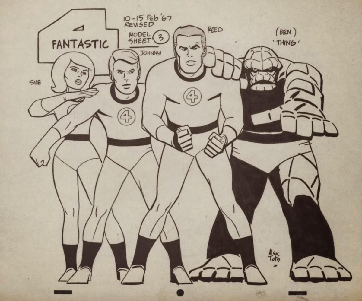 Fantastic Four model sheet by Alex Toth