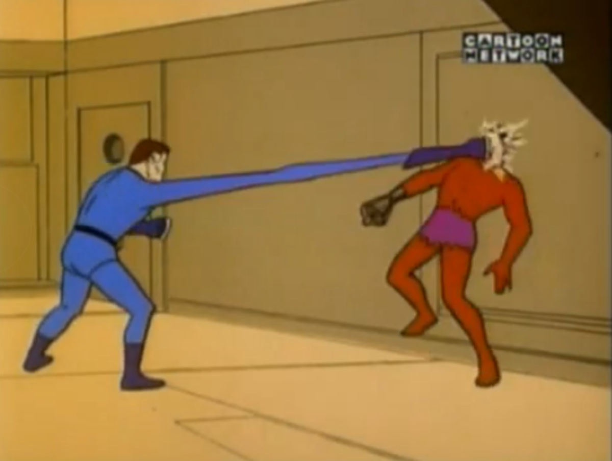 Mr. Fantastic stretching to punch Klaw