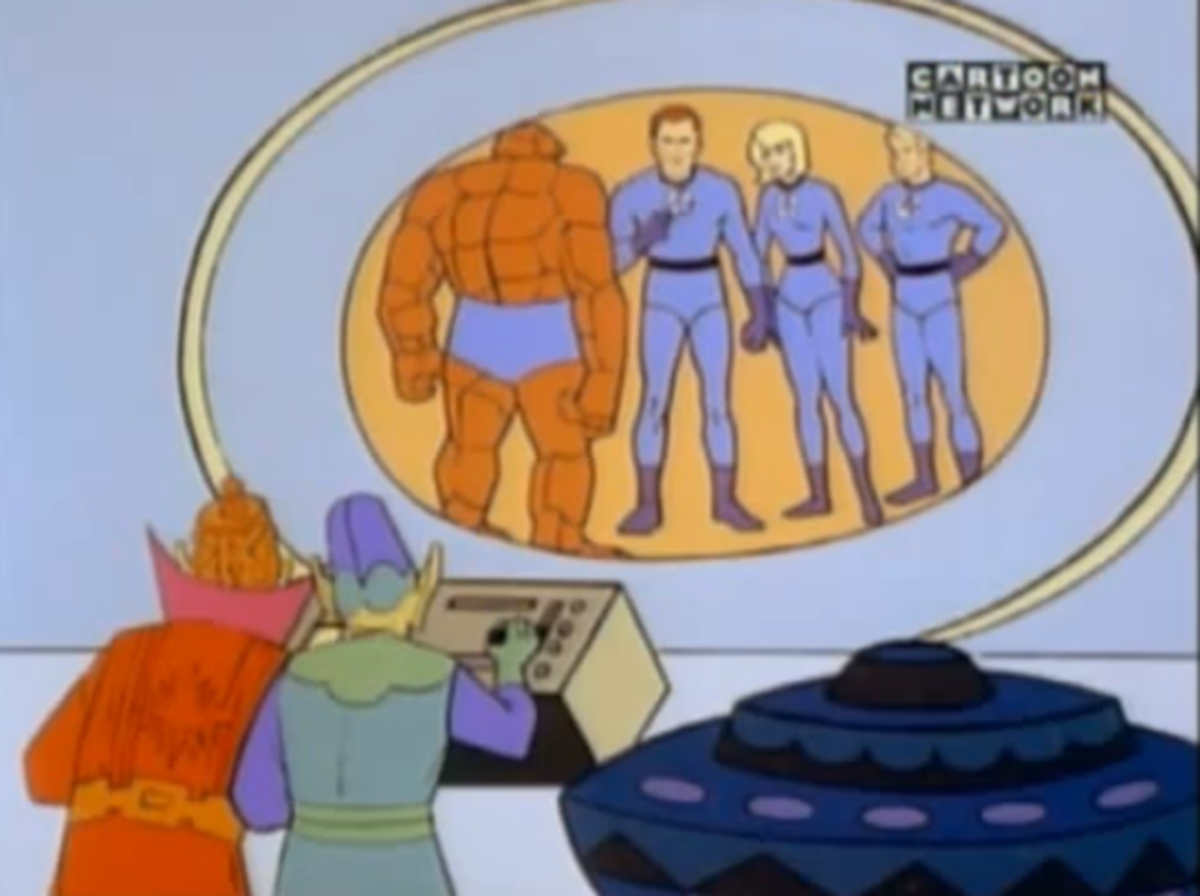 The Skrulls observing the Fantastic Four