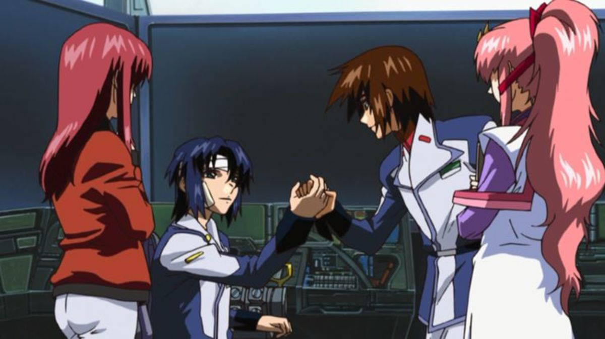 Kira talking to an injured Athrun, with Lacus and Meyrin, aboard the Archangel battleship