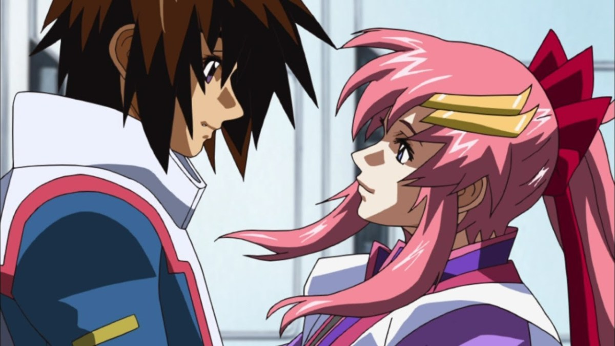 Kira Yamato and Lacus Clyne sharing a moment together