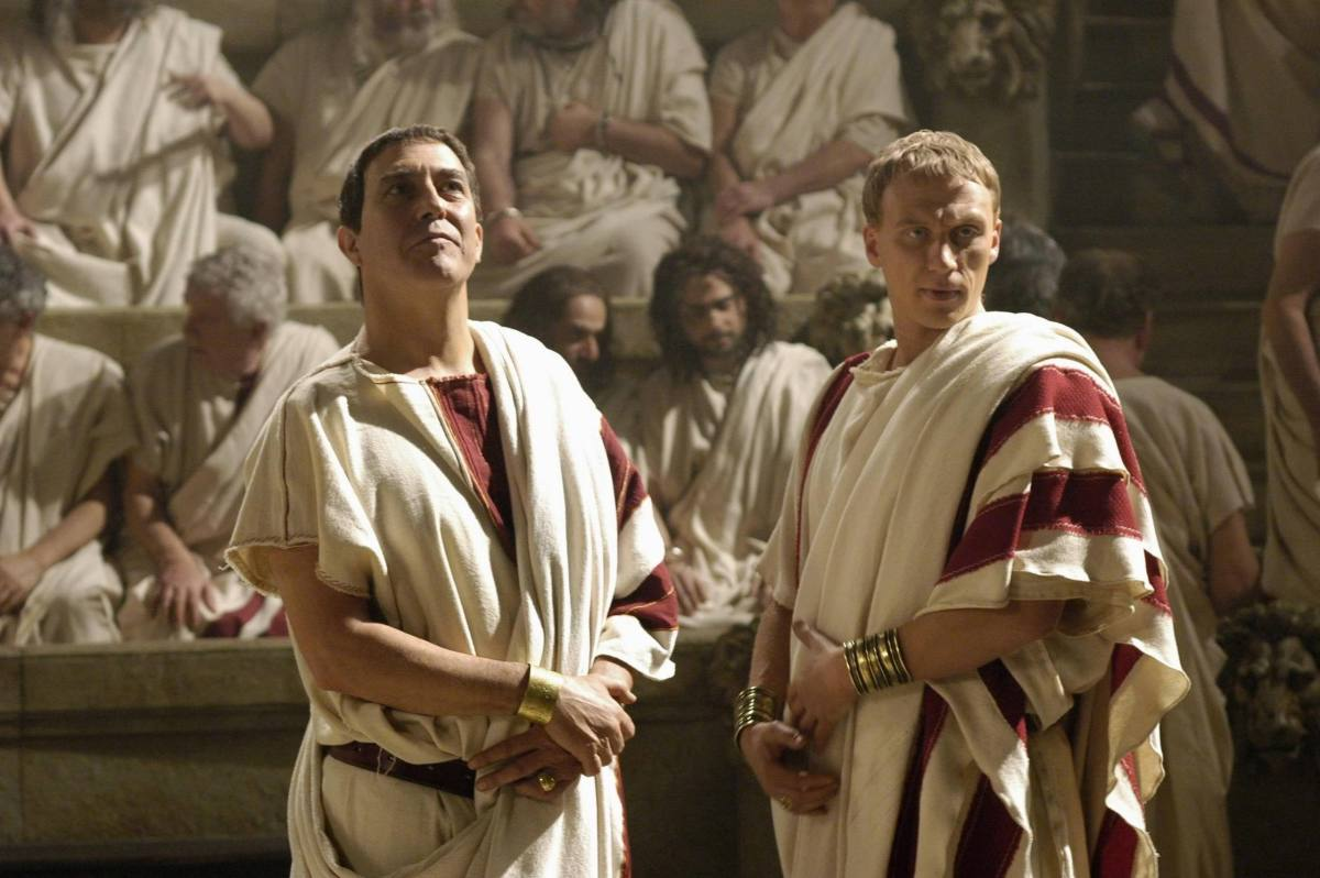 Ciarán Hinds as Julius Caesar and Kevin McKidd as Lucius Vorenus, a soldier and one of the primary storytellers in the series Rome.