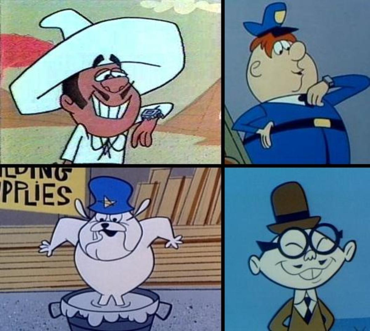 Dick Tracy's four assistants who do the majority of the work for him in this series (Clockwise: Go-Go Gomez, Heap O'Calorie, Joe Jitsu,  Hemlock Holmes)