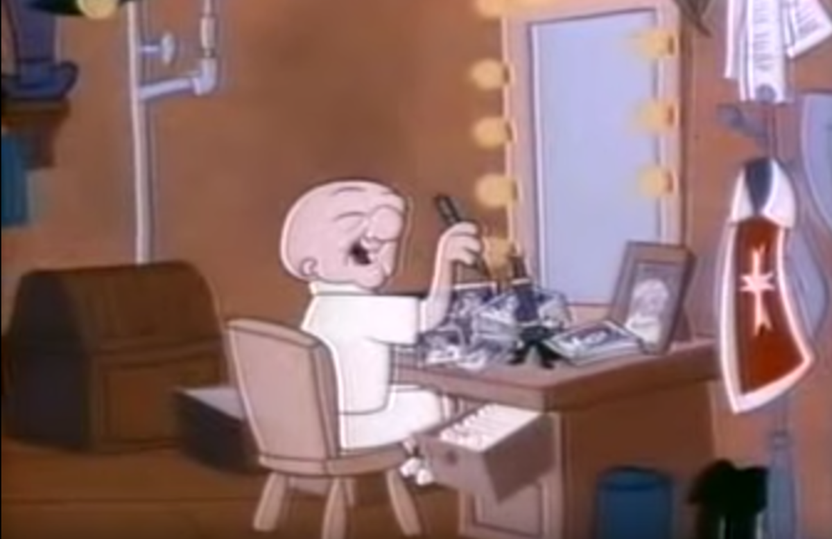 The actor Mr. Magoo in his dressing room