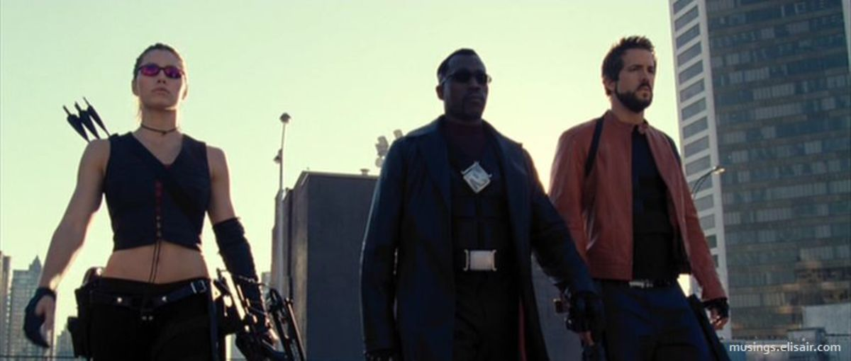 Giving Blade allies was a huge mistake - it makes Snipes (centre) feel less important and less unique, it introduces an unwelcome comedic element in Reynolds (right) and completely wastes Biel's character (left) in the narrative.