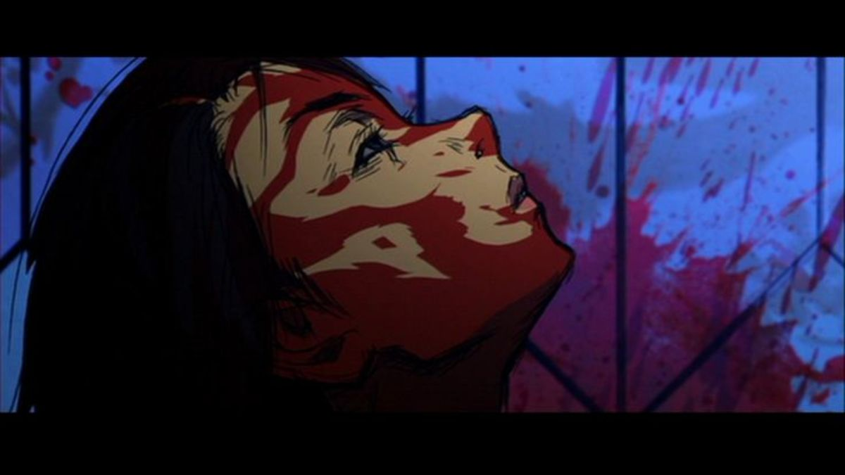 The film also utilises a visceral and brutal anime section, detailing the bloody origins of one character.