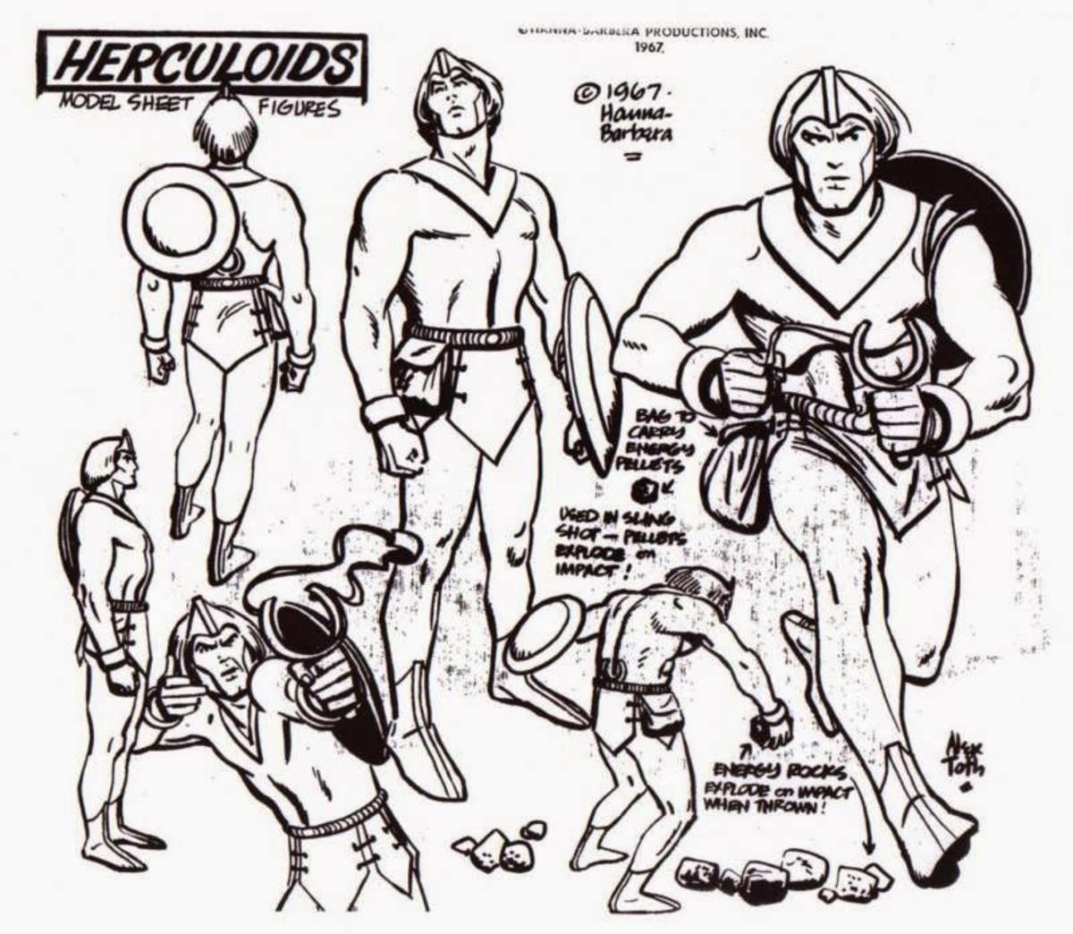 Model sheet for Zandor, drawn by Alex Toth