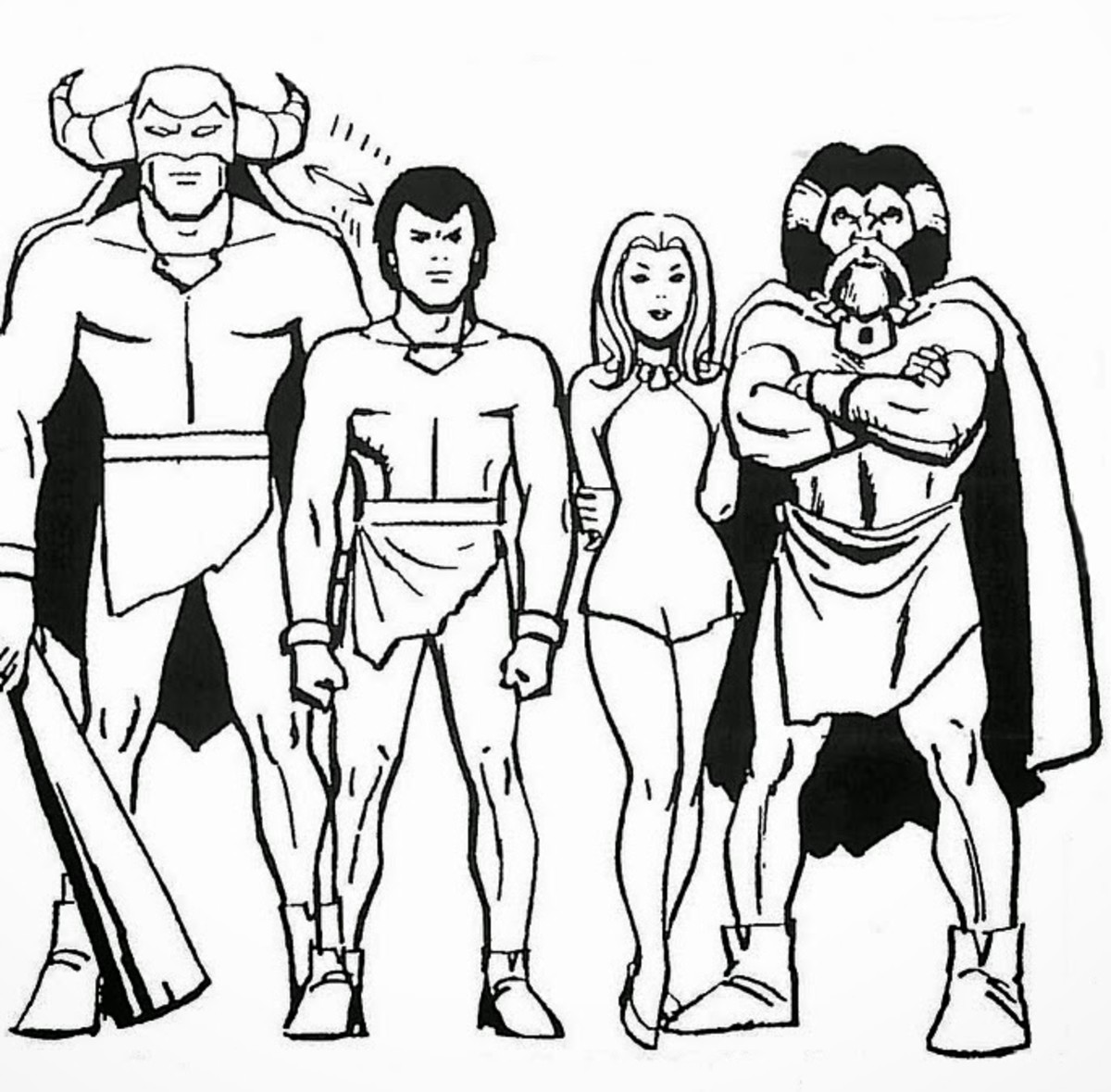 Model sheet for Mightor, Tor, Sheera, and Pondo, drawn by Alex Toth