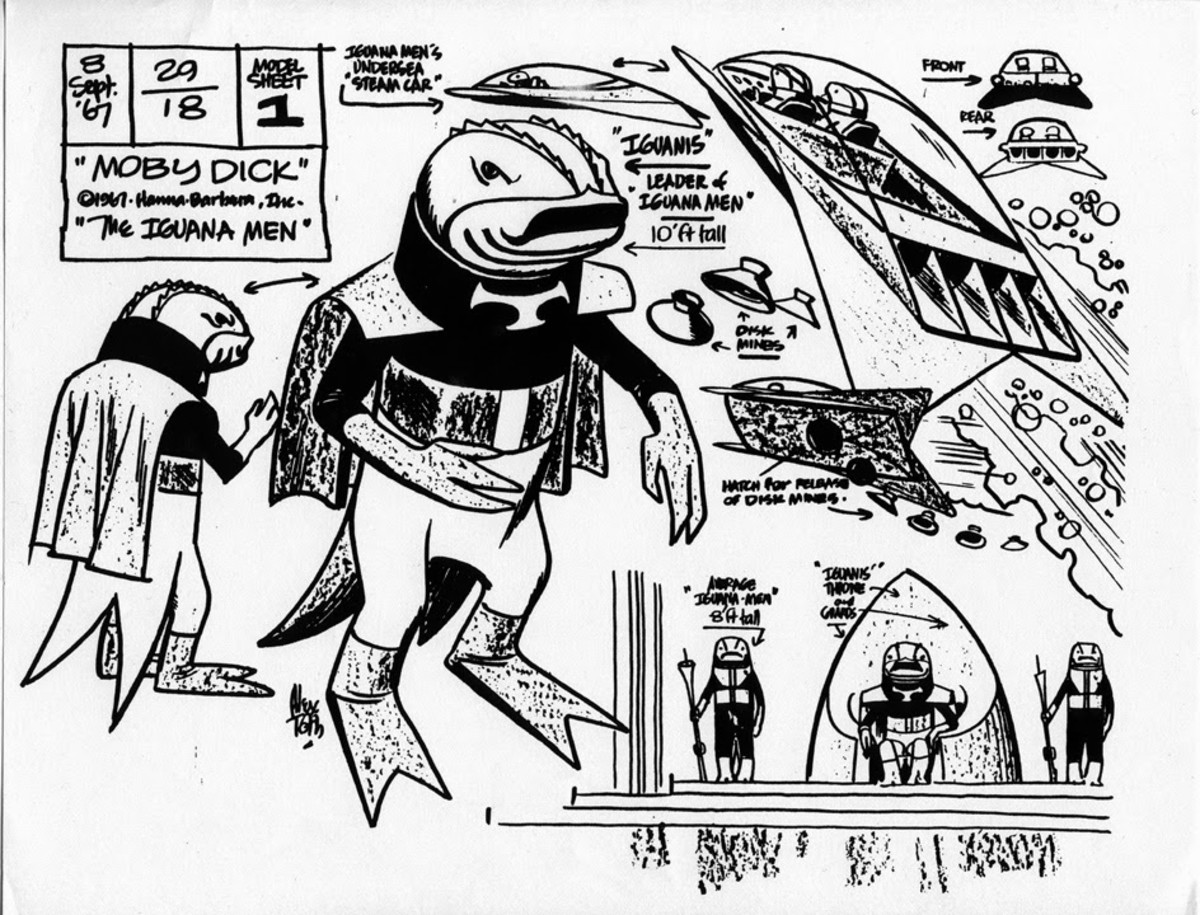 Alex Toth designs for the Iguana Men from Moby Dick