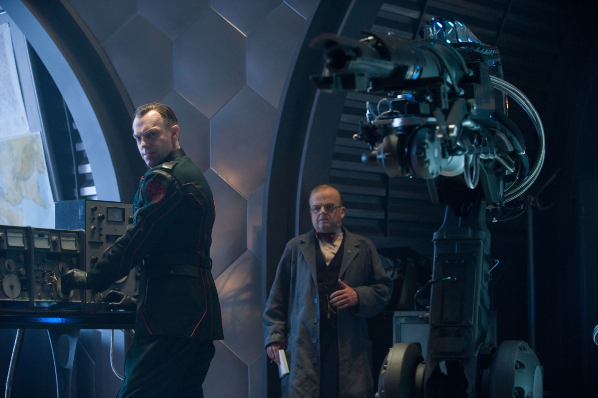 "Hugo Weaving (left) & Toby Jones leads the baddies in ""Captain America: The First Avenger"""
