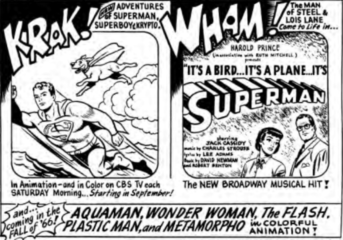 Early advertisement teasing Filmation producing other DC superhero cartoons, though only Aquaman and the Flash would make the final product.