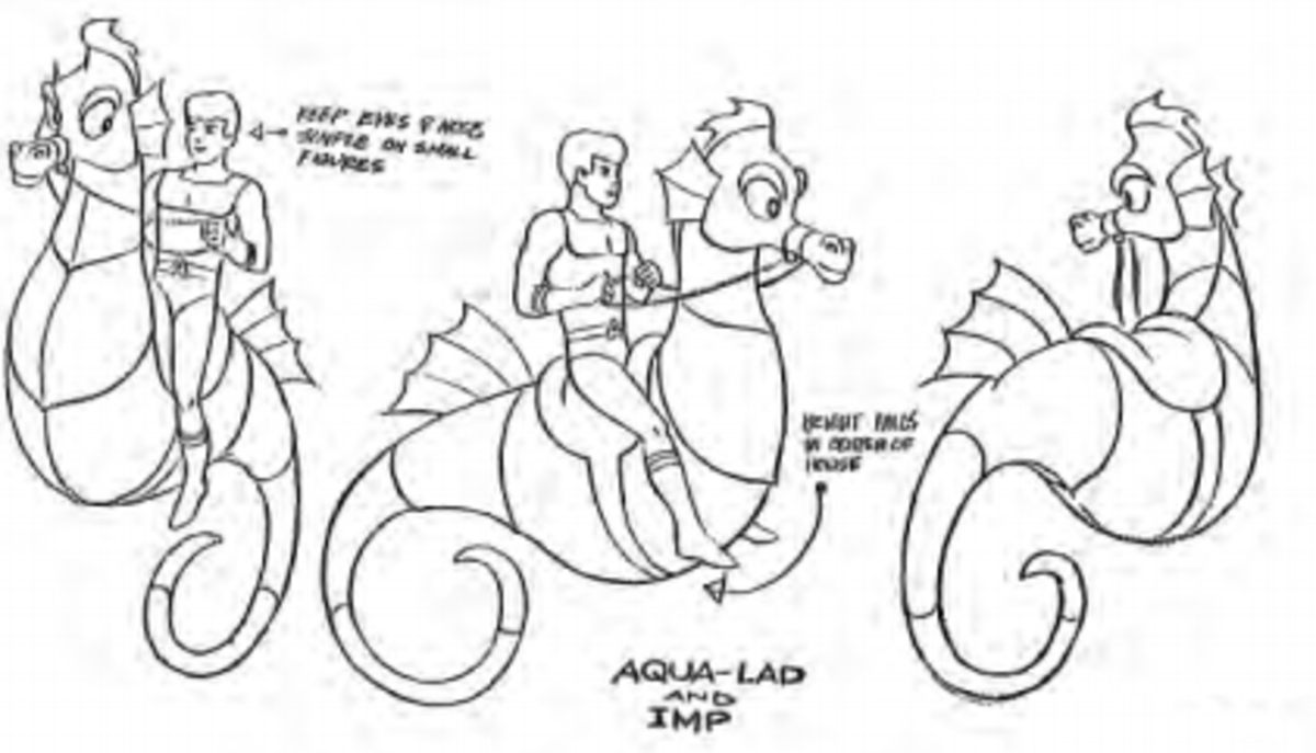 Character model sheet for Aqualad and Imp.