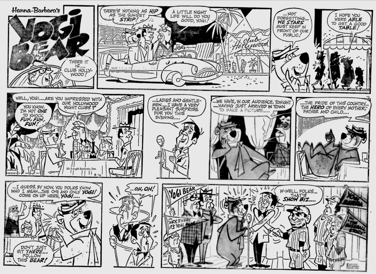 An August 1964 installment of the Yogi Bear comic where, while in Hollywood promoting his movie, he meets Yogi Berra.