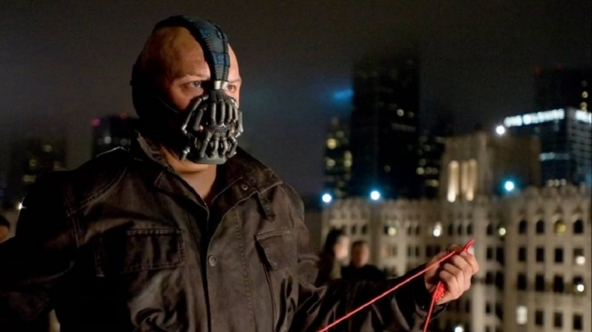 Hardy struggles to convince as Bane - he isn't as physically gifted as the character and his muffled voice grates after a while.