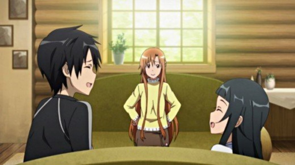 Kirito, Asuna and Yui enjoying happy times in their lakeside cabin in the Sword Art Online story arc