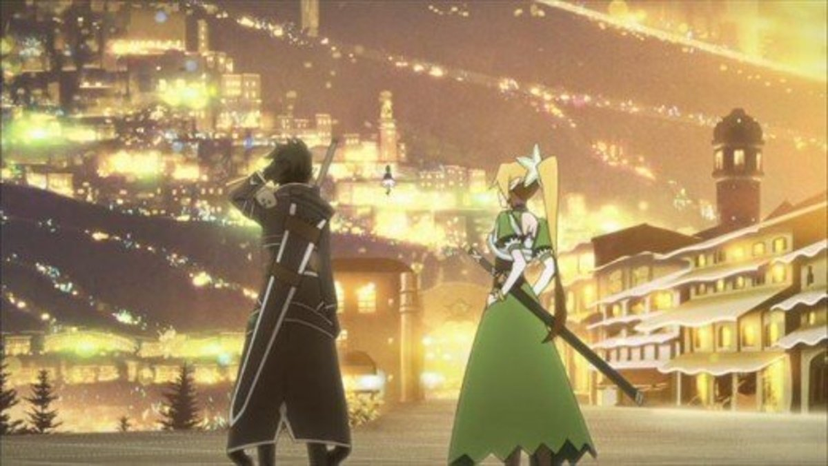 Kirito, Leafa (Suguha) and Yui entering the city of Aarun for the first time