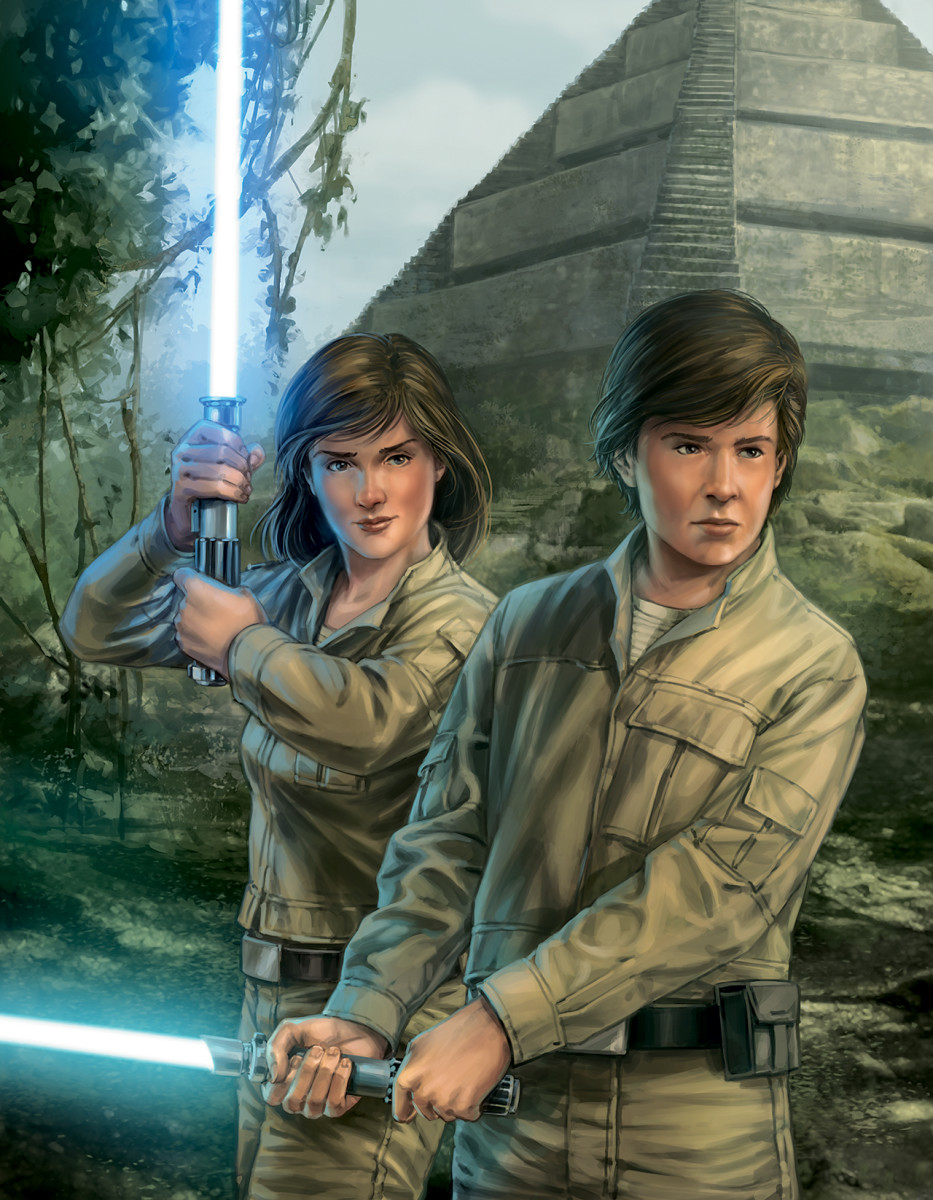 Luke's niece and nephew, Jaina and Jacen Solo, with the Jedi Academy on Yavin 4 in the background