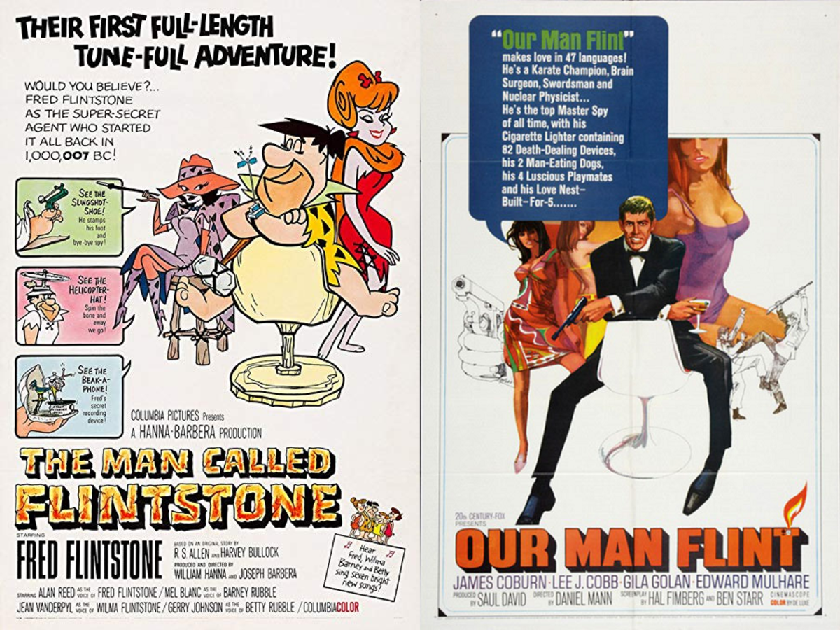 "Comparison between the posters for ""The Man Called Flintstone"" and ""Our Man Flint""."