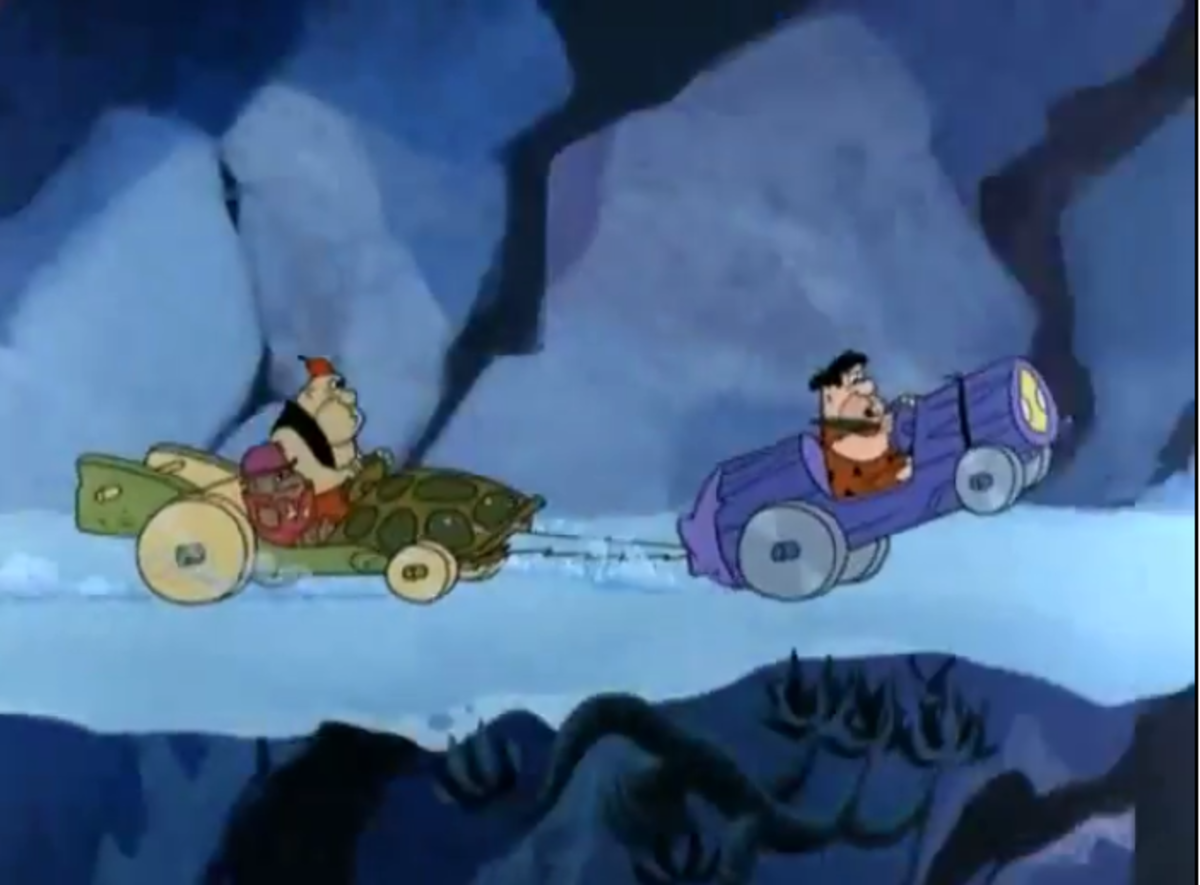 Secret agent Rock Slag being chased by Ali and Bobo.