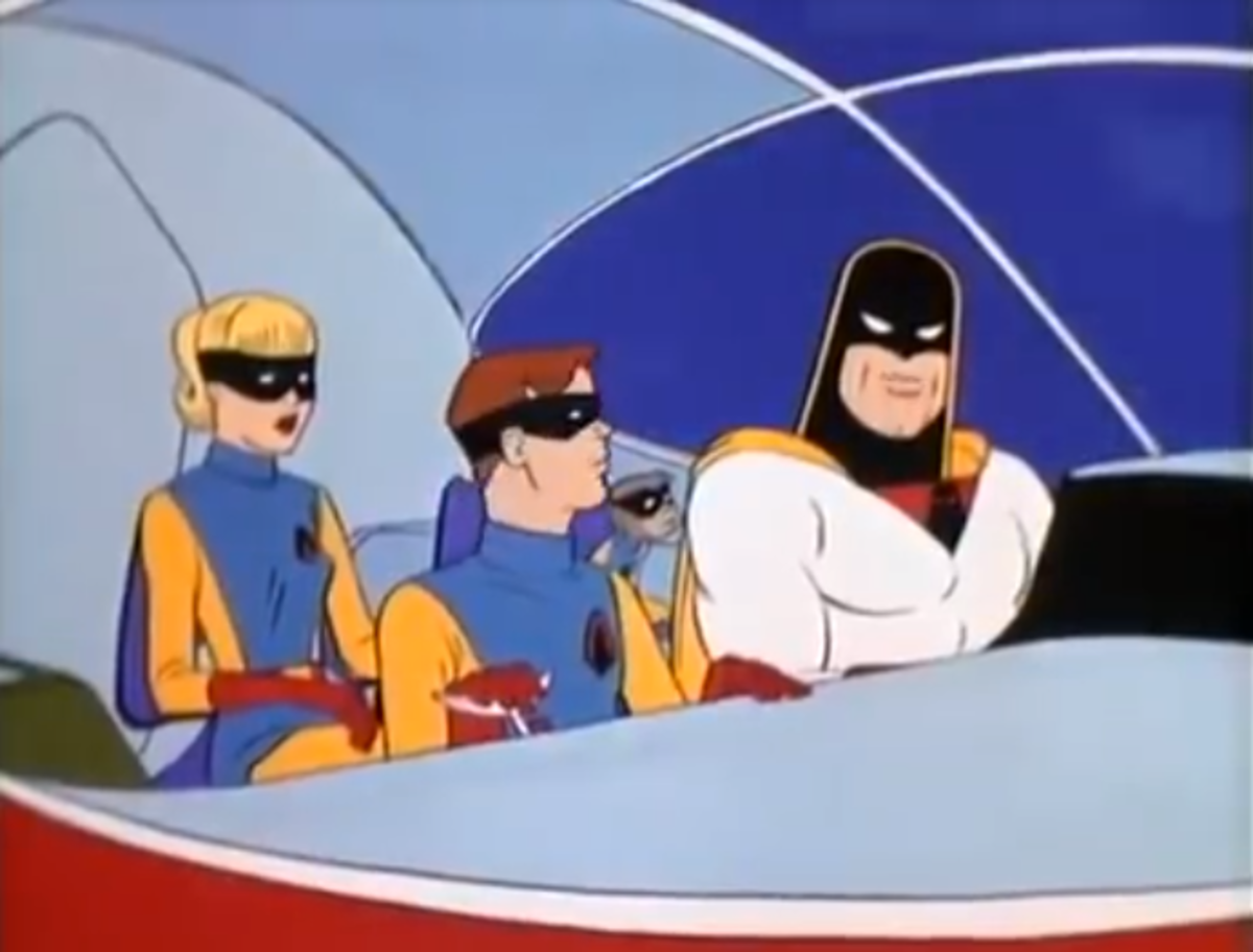 Space Ghost in his ship, alongside his sidekicks Jan, Jace, and their pet monkey Blip.
