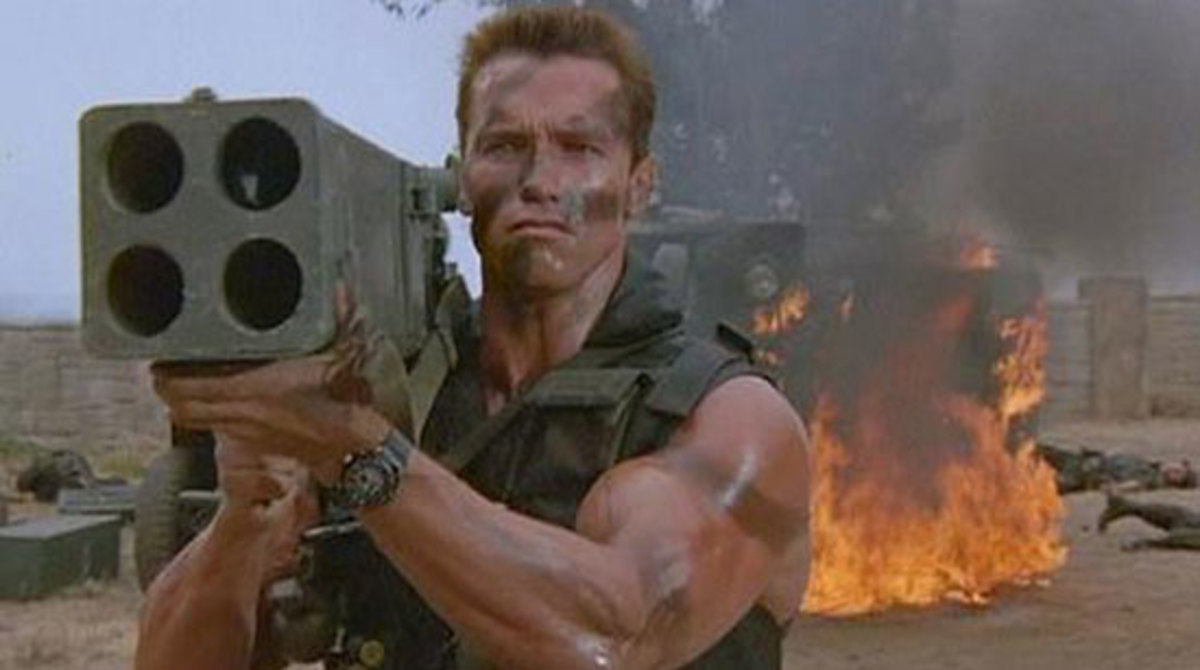Arnie had a horrible feeling he was holding the rocket launcher the wrong way around...