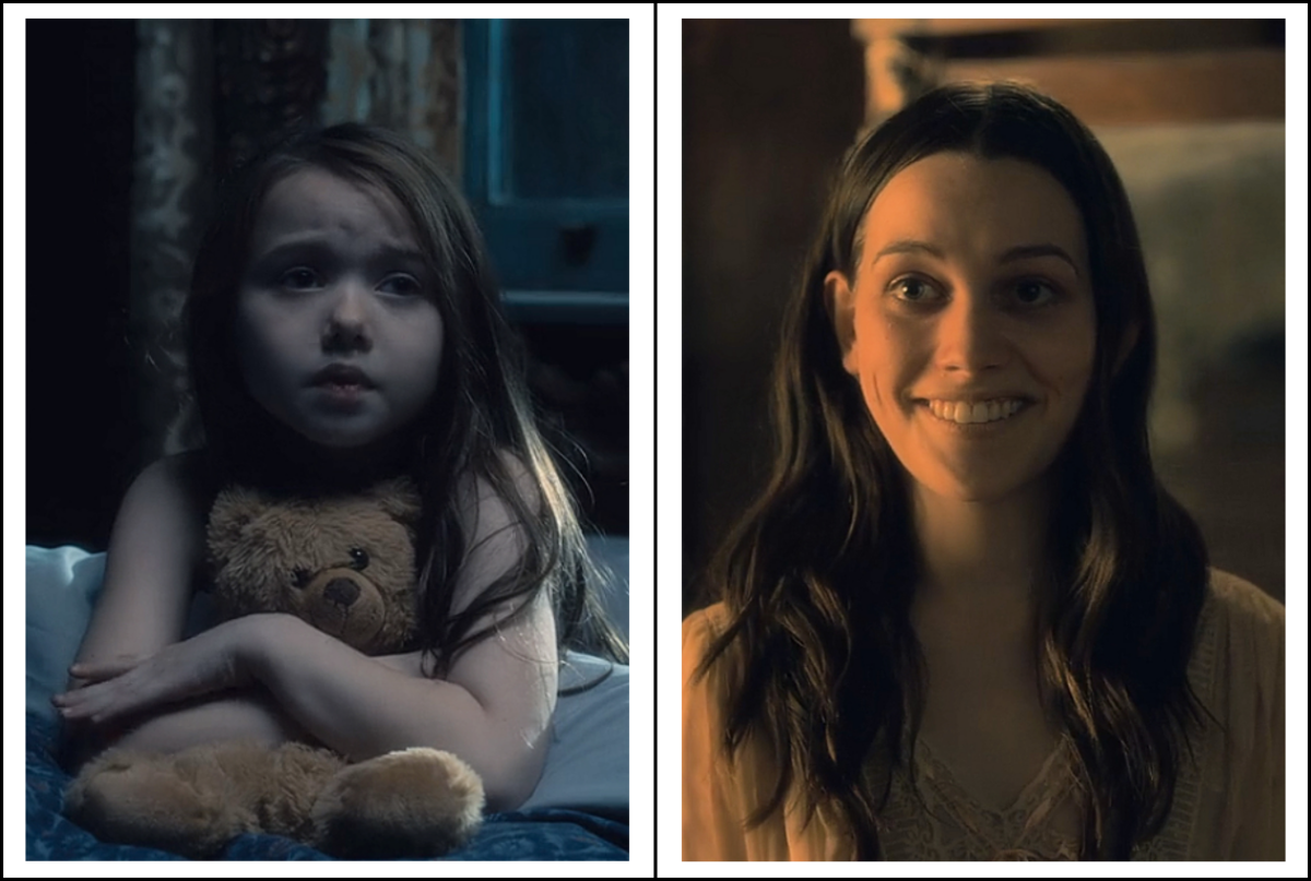 Violet McGraw and 	Victoria Pedretti as Nell Crain in 'The Haunting of Hill House' season 1 (2018), a Netflix Original Series.