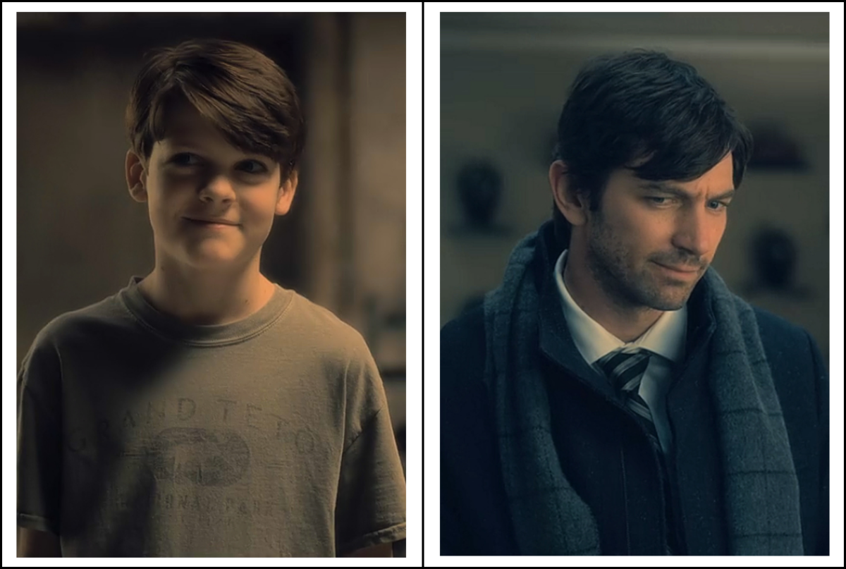 Paxton Singleton and Michiel Huisman as Steven Crain in 'The Haunting of Hill House' season 1 (2018), a Netflix Original Series.