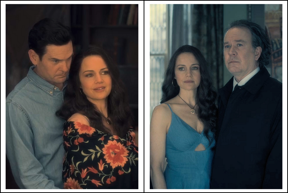 Henry Thomas and Timothy Hutton as Hugh Crain, Carla Gugino as Olivia Crain in 'The Haunting of Hill House' season 1 (2018), a Netflix Original Series.