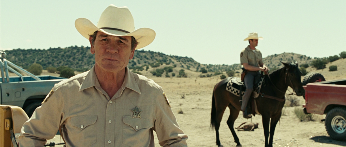 Jones is perfectly cast as the world-weary lawman slowly coming to terms with his increasing obsolescence.