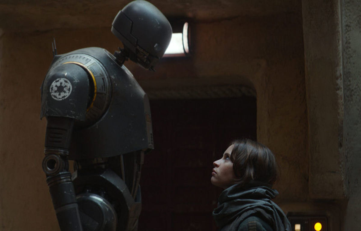 The banter between Jyn and K-2SO is much darker than one might suppose and symbolic of the film in general.