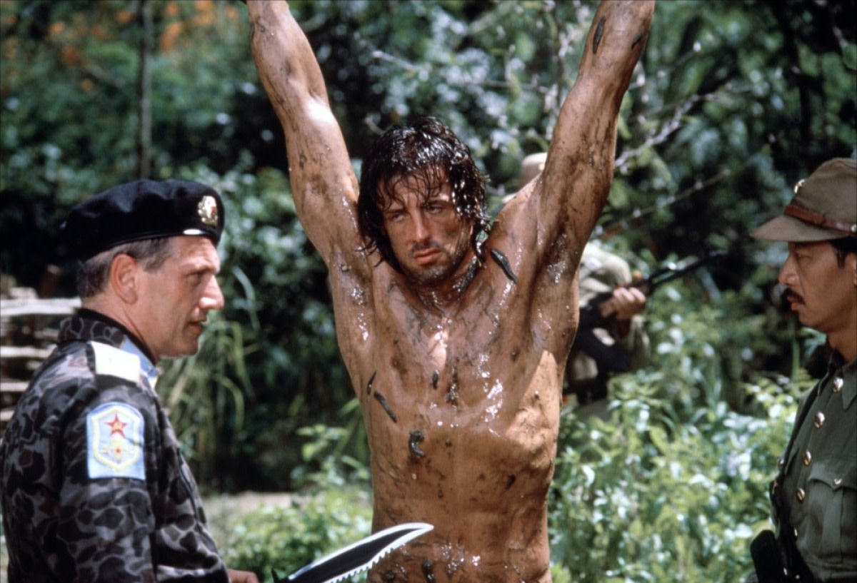 Berkhoff (left) isn't exactly stretched as the villain of the piece, opposite Stallone (centre)