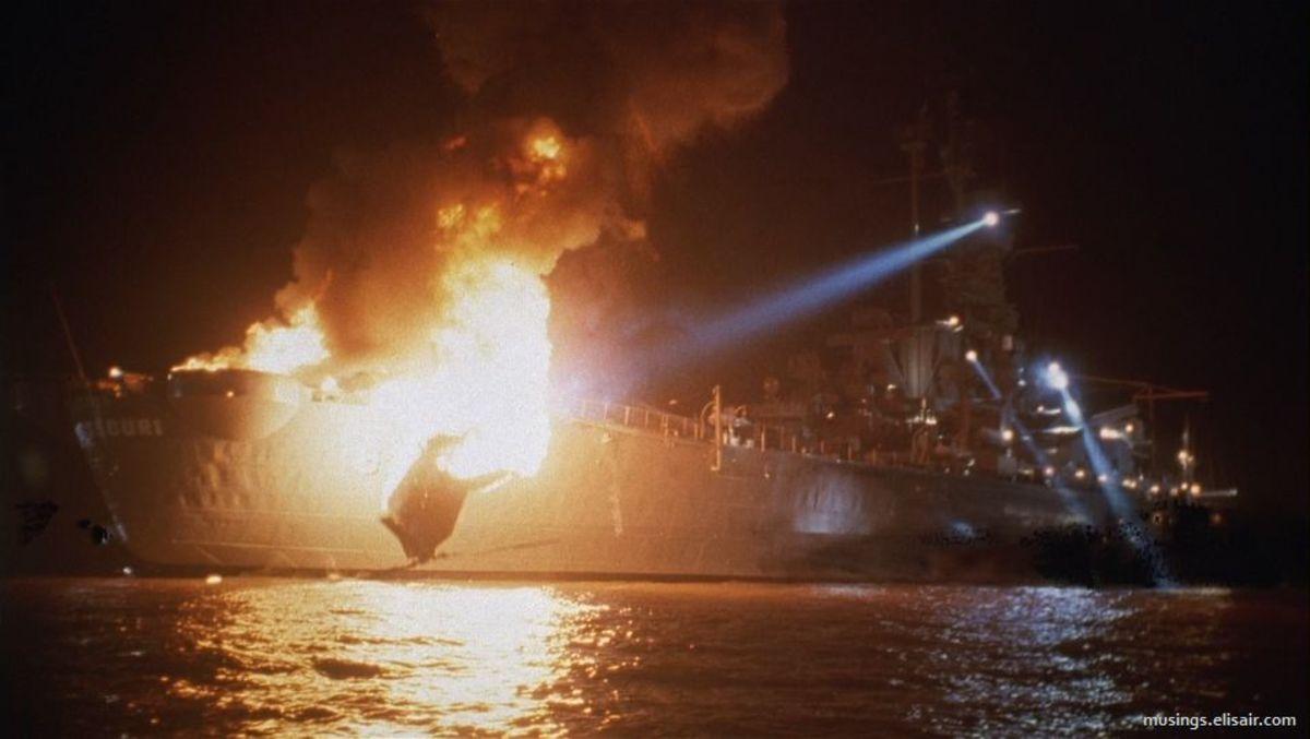 "Explosion aboard the USS Missouri from ""Under Siege"""