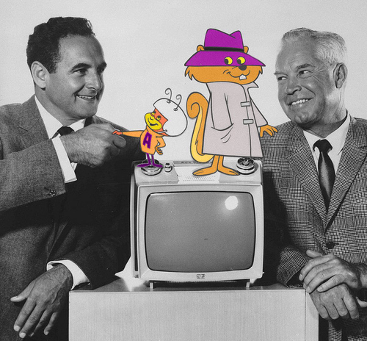 A publicity image of William Hanna (right) and Joseph Barbera (left) with Atom Ant and Secret Squirrel