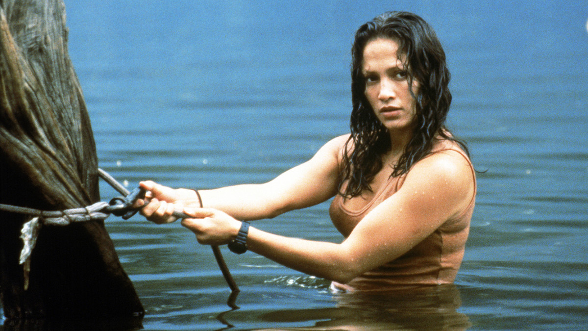 Lopez works hard as the heroine of the piece, getting frequently wet and gutsy in the face of adversity.