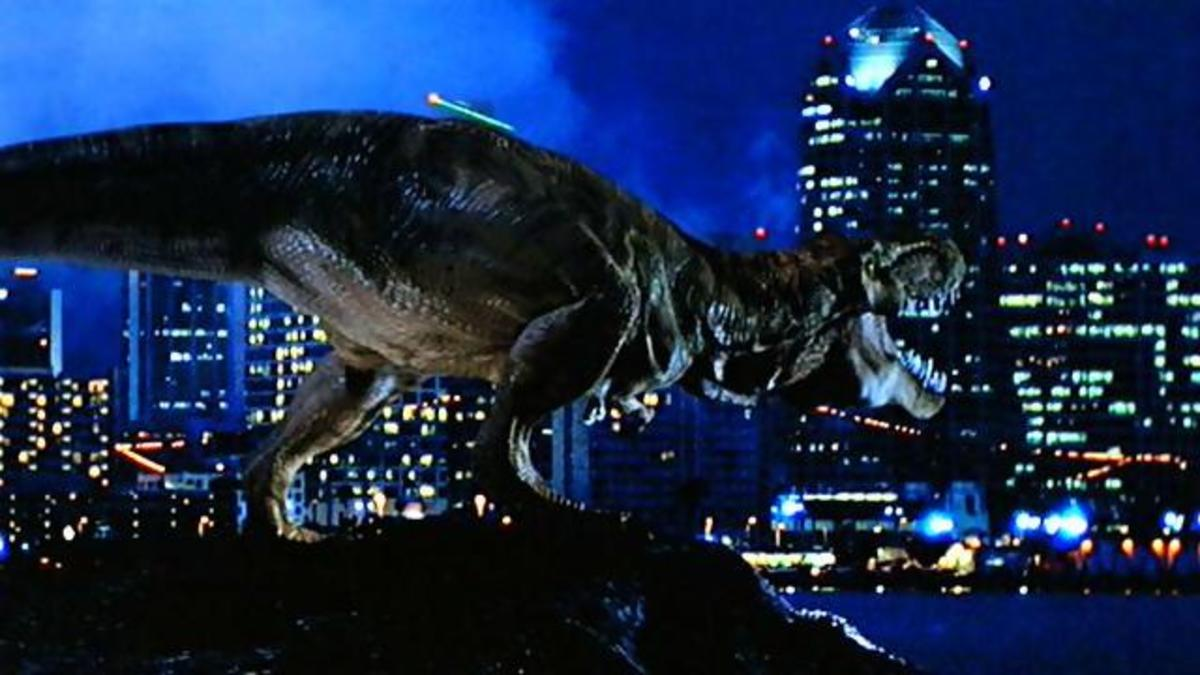 Eventually, the film gives us a T-Rex roaming around a modern city but it's a long and convoluted path to get there.