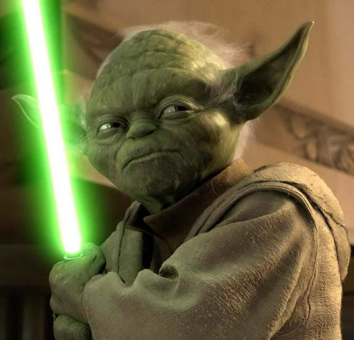 Even Yoda lights up - not an option with puppets of yore...