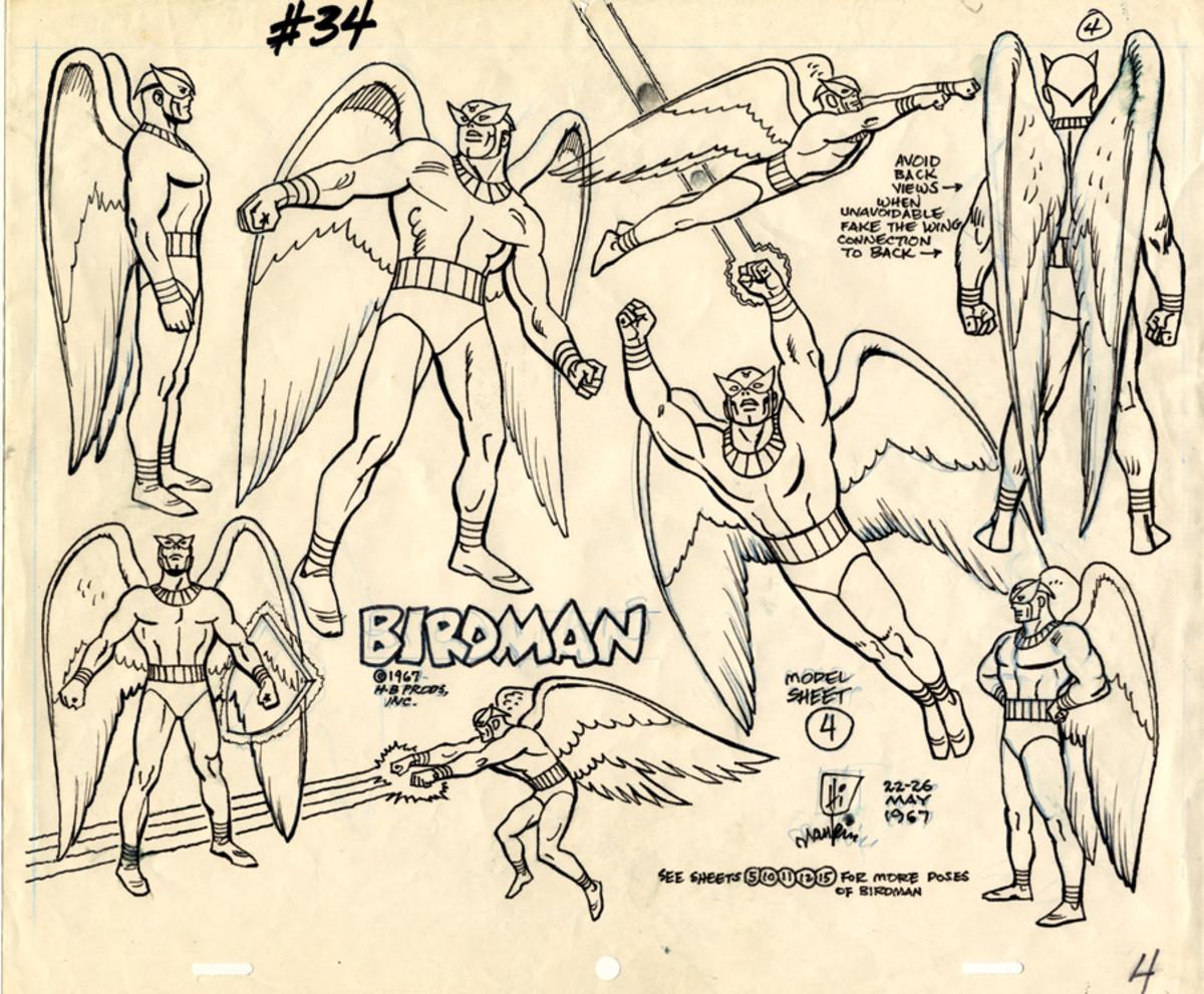 Birdman model sheets drawn by Alex Toth