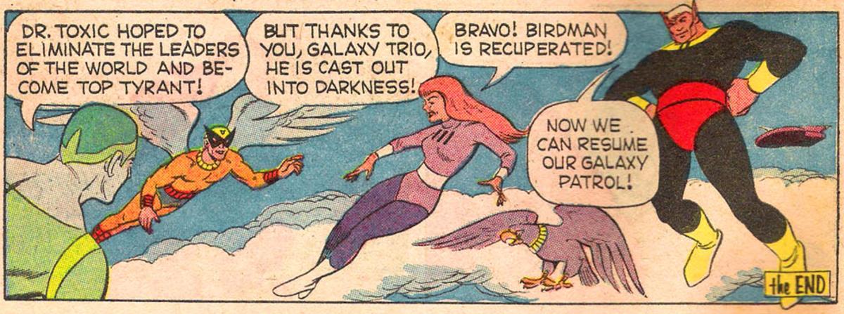 "Birdman meeting the Galaxy Trio in ""Hanna-Barbera Super TV Heroes #2"""