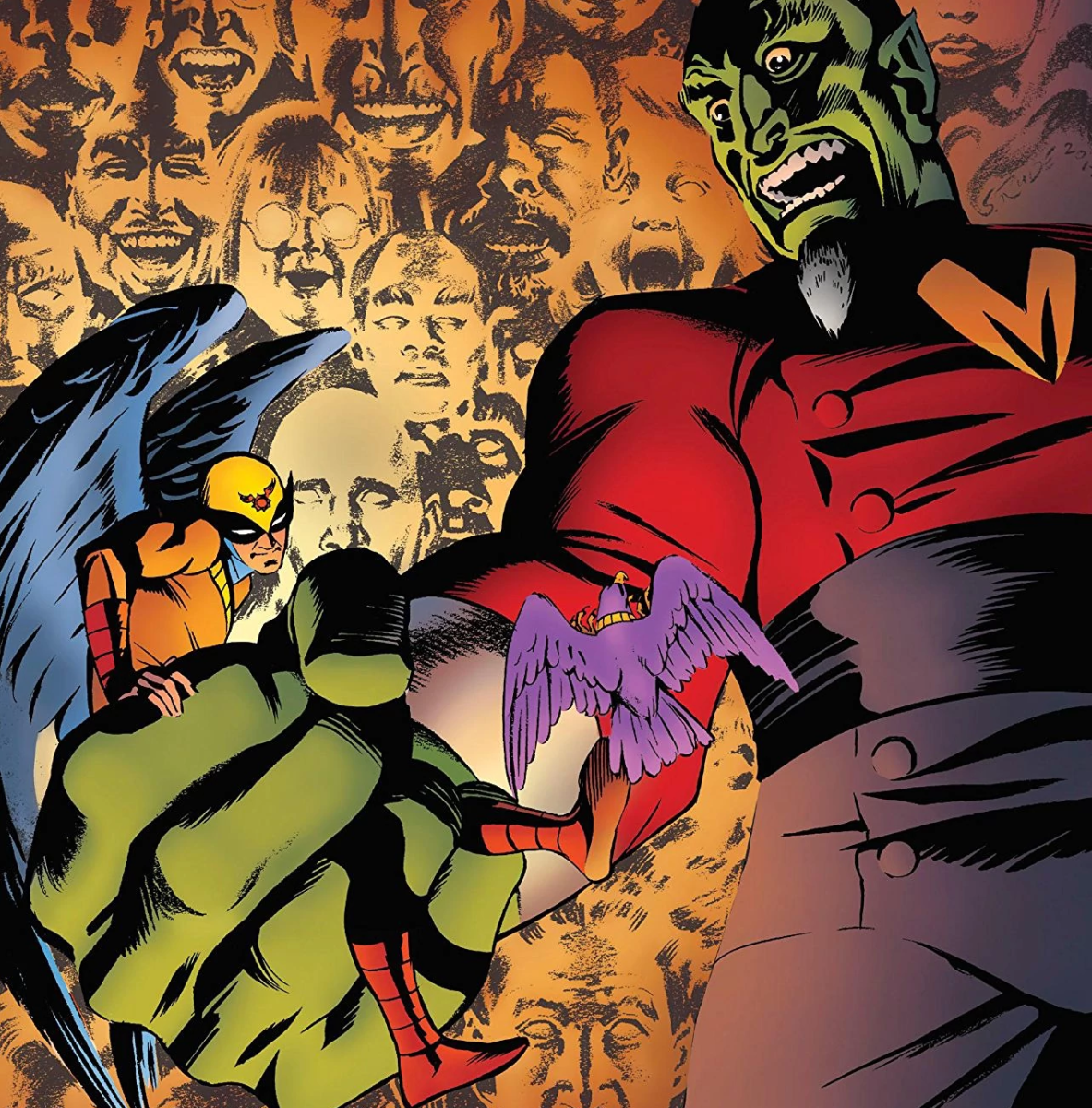 """Birdman in the clutches of Mentok on the cover of """"Future Quest #7"""""""