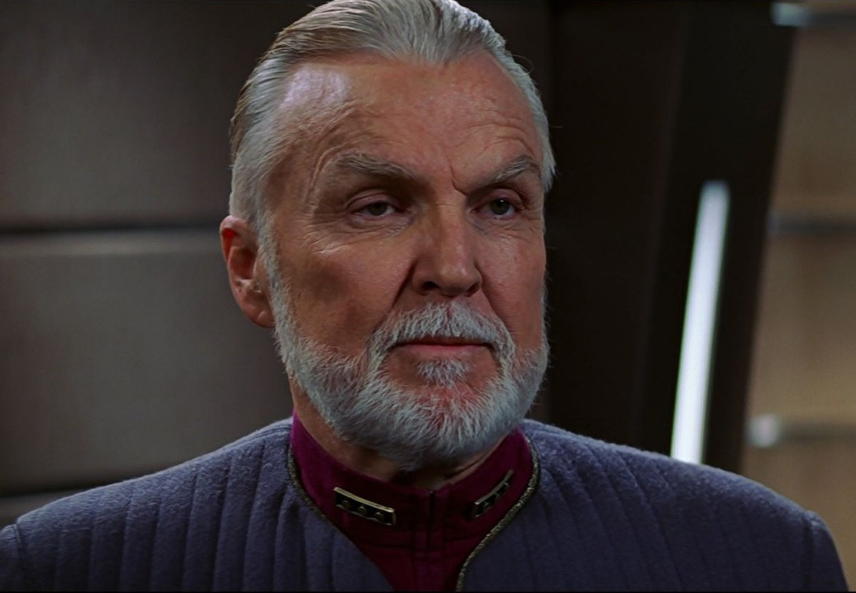"""Admiral """"Eleven Secret Spices"""" gives Picard the stink eye."""