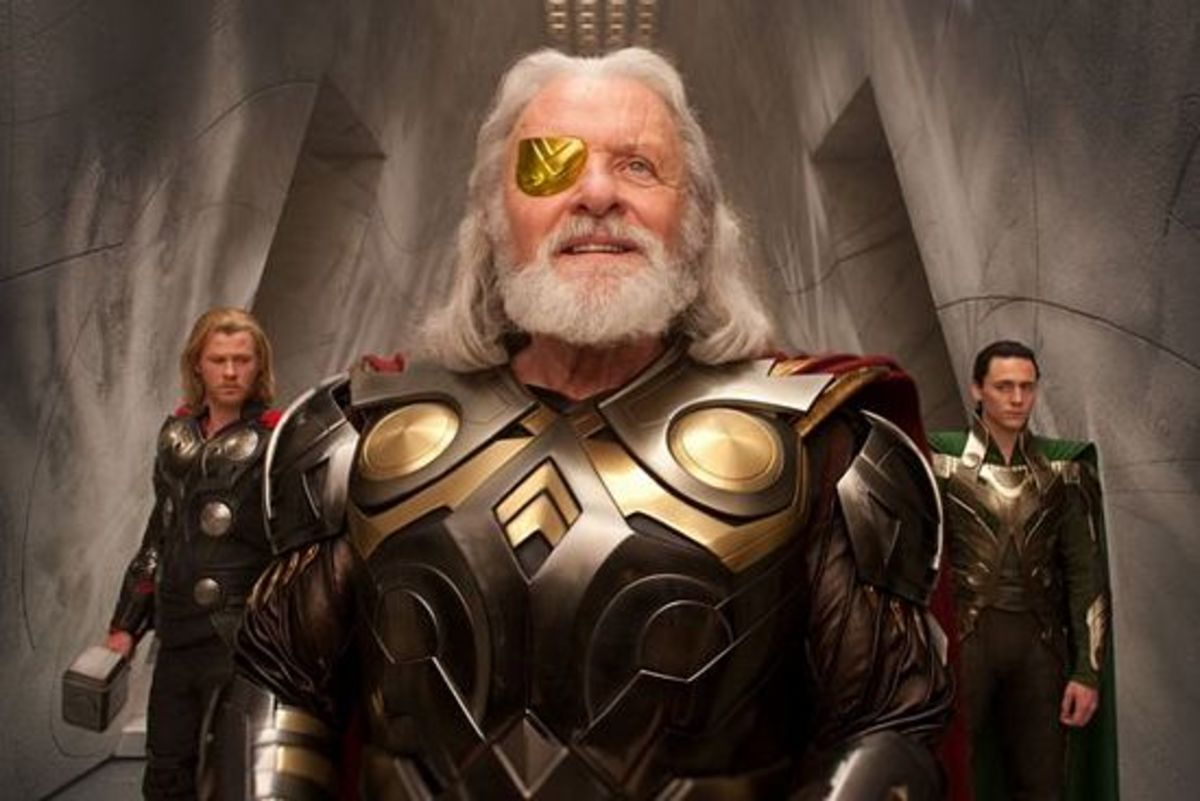 "Hemsworth (left), Anthony Hopkins and Tom Hiddleston (right) in ""Thor"""