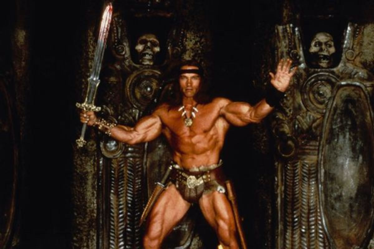Schwarzenegger's almost cartoony physique is well-suited for the role of Conan, which he embodies perfectly