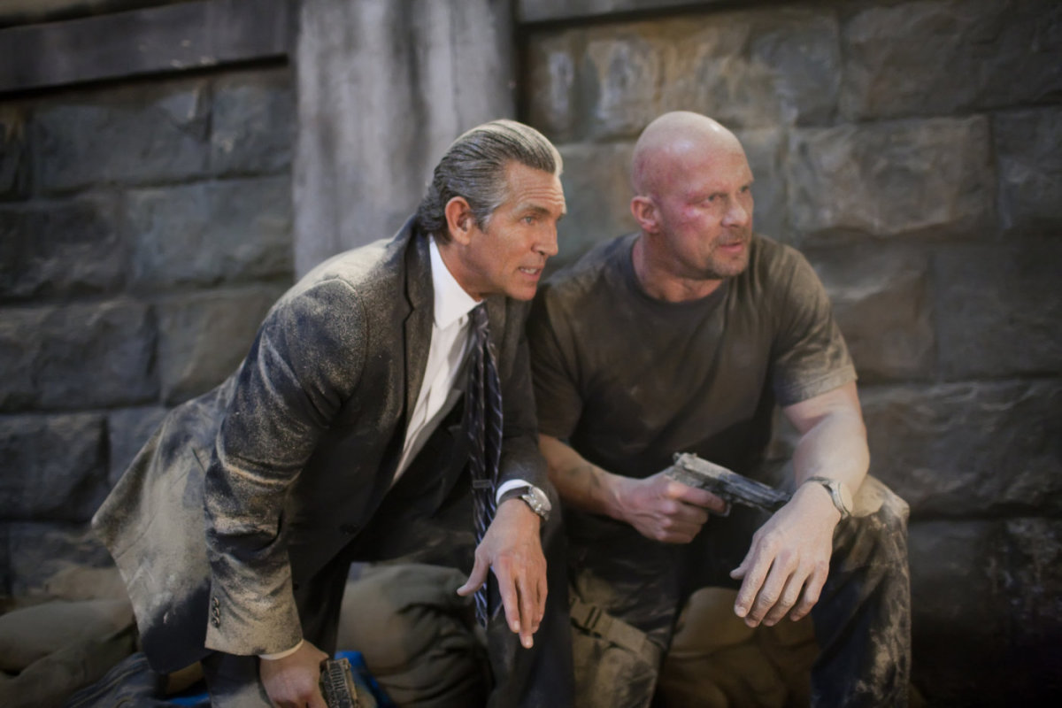 Eric Roberts (left) and Steve Austin (right) appearing as two of the film's many bad guys and getting ready to rumble.