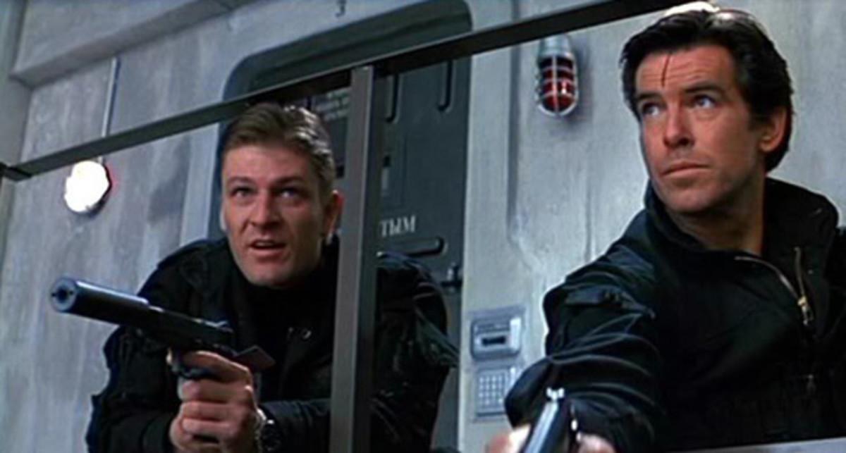 "Sean Bean (left) and Pierce Brosnan in ""GoldenEye"""