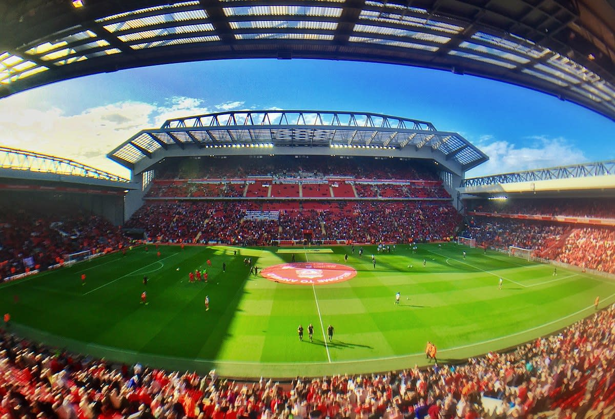 The famous Anfield stadium in Liverpool is an unusual location for the film's explosive climax.