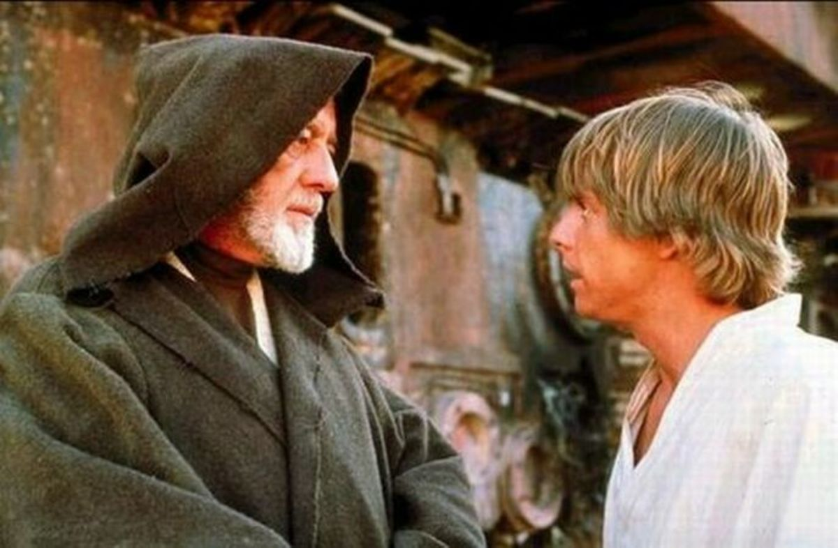 Sir Alec Guinness (left) teaches Mark Hamill (right) the ways of the Force...