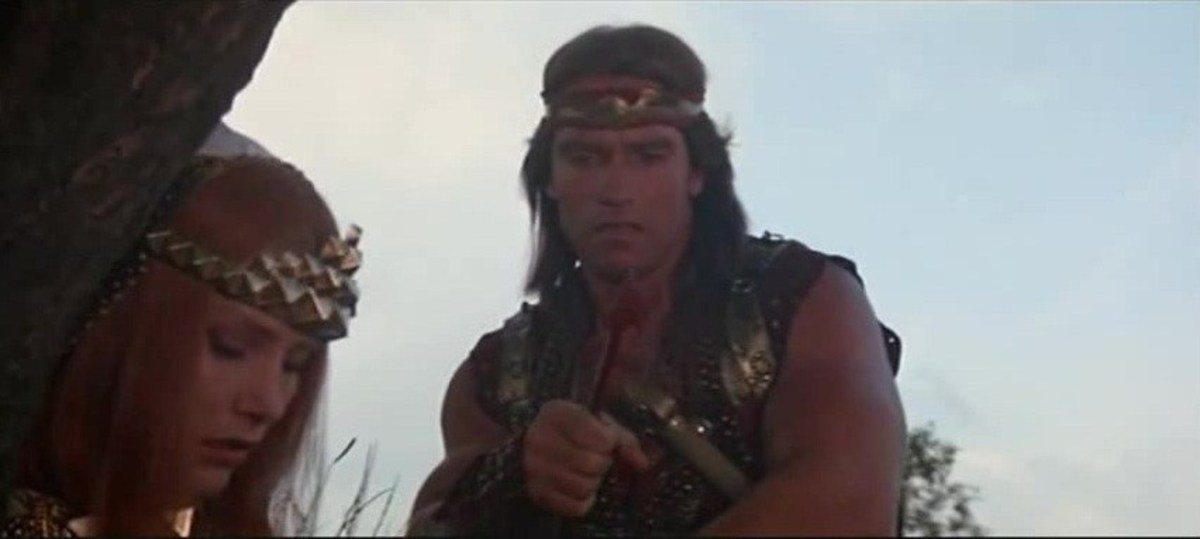 The film-makers shamelessly tried to jump on the Conan bandwagon, even billing Arnie above Nielsen!