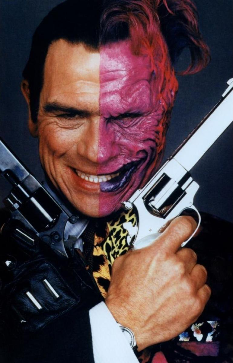 "Jones is horribly miscast as Two Face, especially compared to the version seen in ""The Dark Knight""."