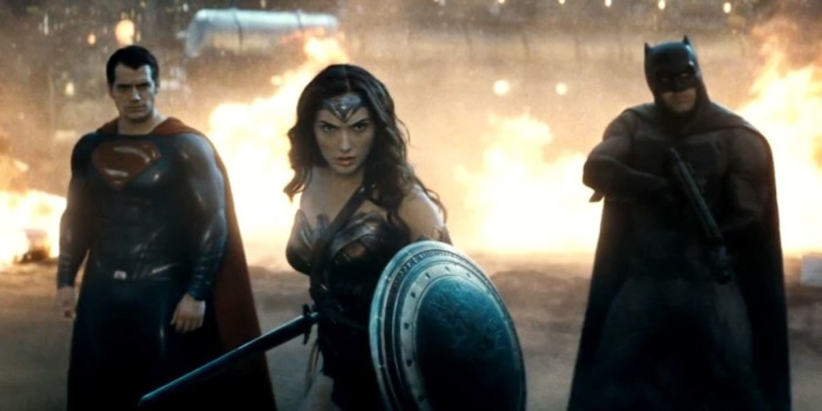 Gadot (centre) provides far more interest as the enigmatic Wonder Woman than either Cavill (left) or Affleck (right)