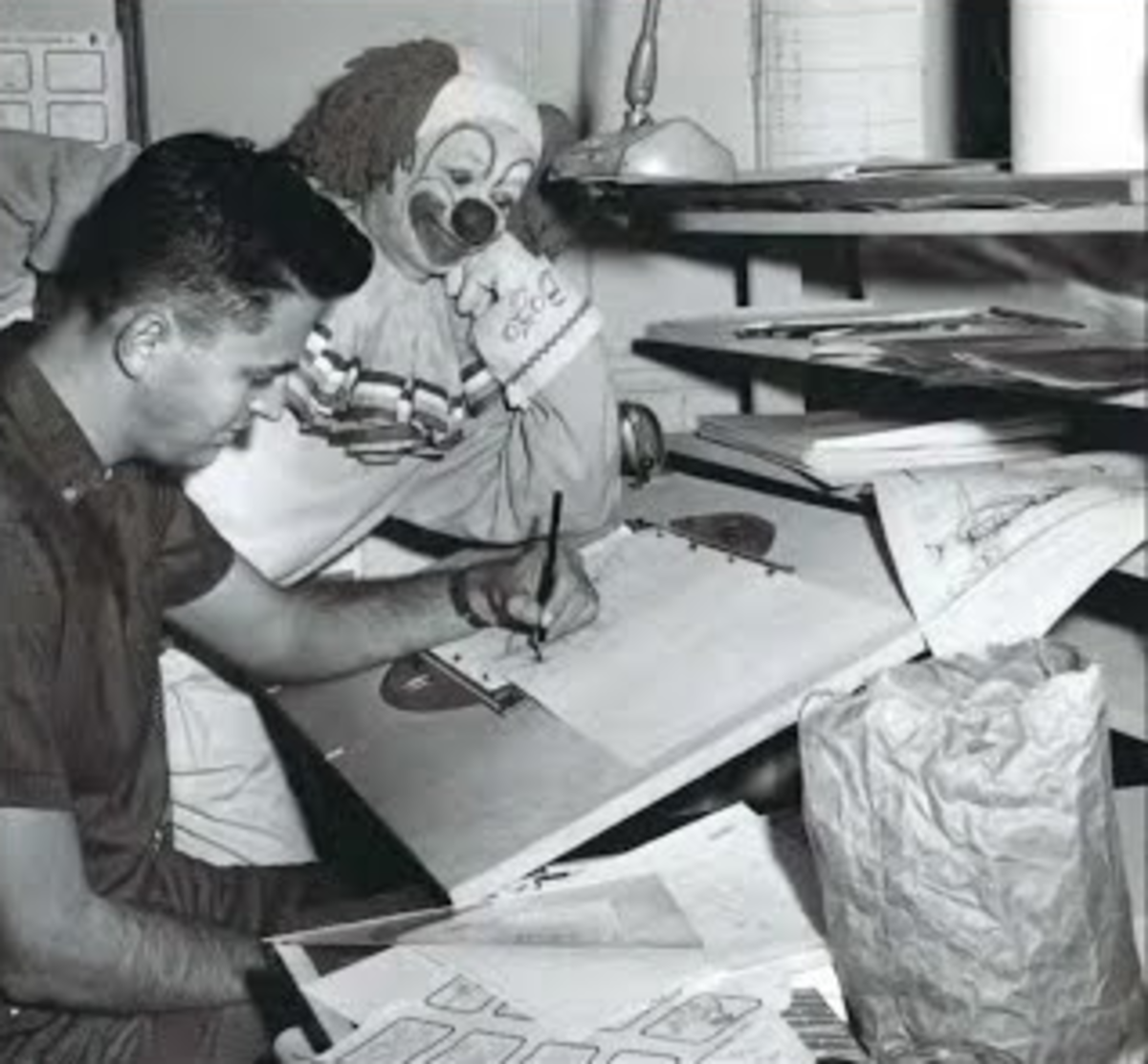 Lou Scheimer working on the Bozo the Clown cartoon